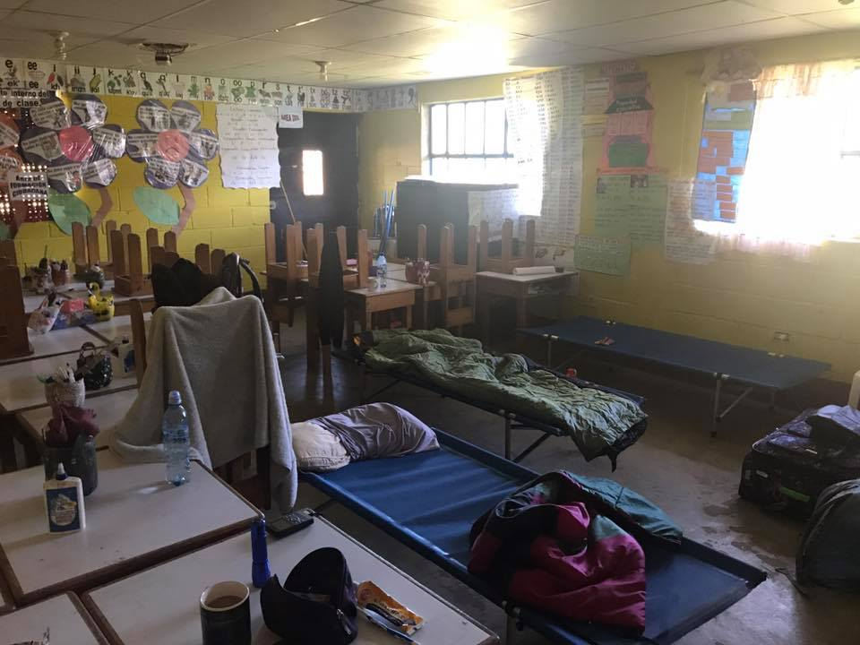 Fourth grade classroom served as a women's dormitory for the week!